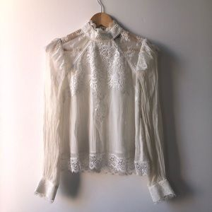 The Kooples Silk and Lace Blouse